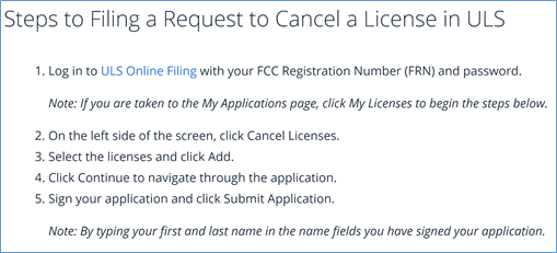 Cancel license in the ULS